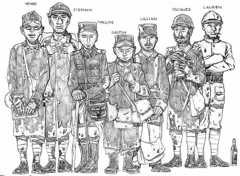 Character sketches for the French platoon in Steve Martin's 'Allies of Reason' story for TEAW.