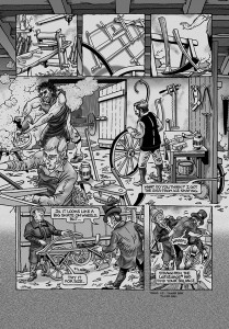 One of the last pages to be drawn. Features Karl Drais collecting his laufmaschine from cartwright Frey.